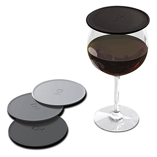 Drink Tops MOD Tap and Seal Outdoor Drink Covers, 4pk- Black & Grey, Gently Suctions to Glasses Keeping Bugs Out, Aromas In, and Reduces Splashing