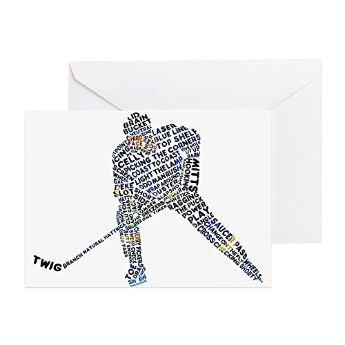 CafePress Hockey Player Typography Greeting Card, Note Card, Birthday Card, Blank Inside Glossy (Hockey Birthday Card)