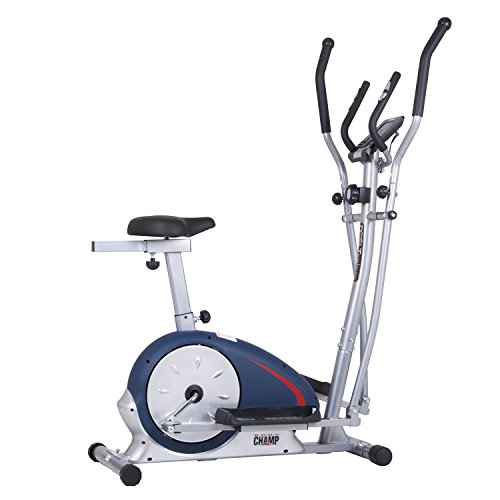 Elliptical Trainer and Exercise Bike with Seat and Heart Rate Pulse Sensors Dual Trainer Cardio Upper and Lower Full Body Workout Multi Trainer by Body Champ