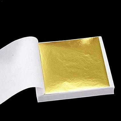 100Pcs Gold//Silver//Copper Foil Leaf Paper Food Decor Gift Craft Gilding H9V1