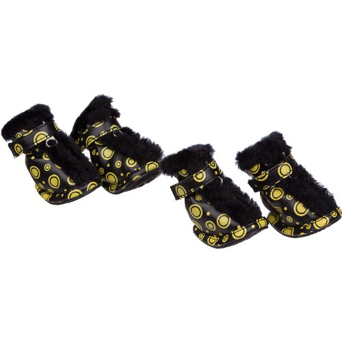 Pet Life Insulated Fashion Designer Plush Premium Fur-Comfort PVC Water resistant Supportive Pet Dog Shoes Booties Boots, Medium, Black & Yellow by Pet Life