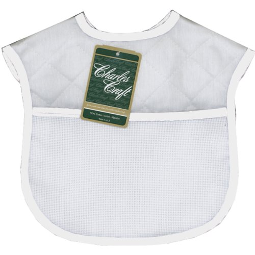 DMC BB4992-6750 Polyester/Cotton 9-Inch Quilted Baby Bib, White