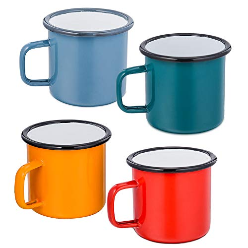 P&P CHEF Coffee Mug Set of 4,Enamel Tea Coffee Drinking Mugs