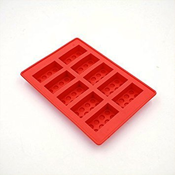 Jooks Silicon Lego Shaped Ice Cube Tray Silicone Moulds Ice Tray Molds Candy Moulds Chocolate Moulds For Kids Party's and Building Themes (Red)