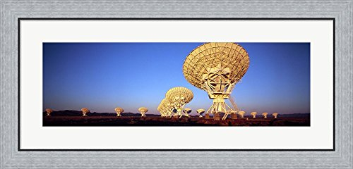 Radio Telescopes in a field, Very Large Array, National Radio Astronomy Observatory, Magdalena, New Mexico, USA by Panoramic Images Framed Art Print Wall Picture, Flat Silver Frame, 35 x 17 inches Very Large Array Telescope