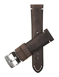 24mm Brown Vintage Watch Band Strap, Genuine Leather, White Stitch, Stainless Steel Buckle