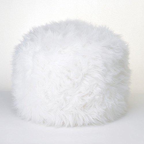 Fuzzy White Ottoman Pouf (Nursery Pouf Ottoman)