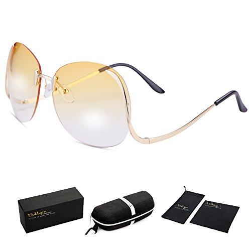 Dollger Oversized Women Rimless Sunglasses Clear Lens Gsselas (Yellow Gradient Lens+Gold Frame, 100% UV Protection - Glasses Frames Reading 2017