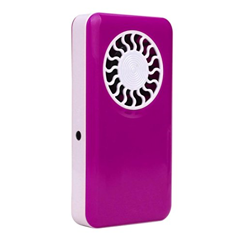 Leegor Portable Handheld USB Mini Fan Ultra-thin Low Noise Rectangle Air Conditioner Cooler With Rechargeable Battery (Hot Pink)