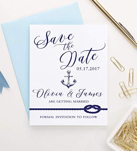 Save the Date Nautical, Save the Date Wedding, Save the Date Beach Theme, Anchor Save the Dates, Your choice of Quantity and Envelope Color