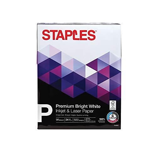 """Staples Inkjet Paper, 8 1/2"""" x 11"""", Bright White, Ream"""