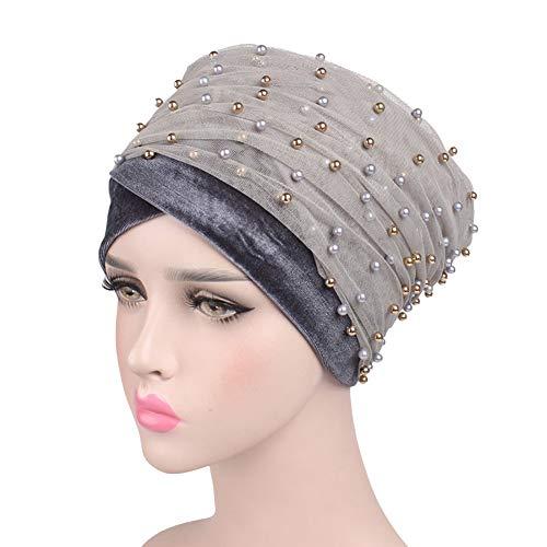 - Daxin Women Inner Hijab Headscarf Cap Ladies Luxury Beaded Pearl Velvet Long Head Solid Color Mesh Scarf Wrapped Hair Cap
