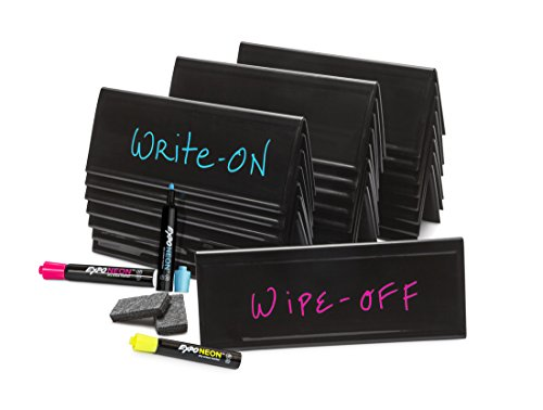 Set of 24 Reusable Black Tent Cards, Markers, Erasers & Carrying Tote Bag (Table Seminar Text)