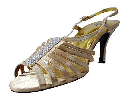 Lalla Gold Strappy High Heel with Silver Rhinestone Studded Details Size 7.5 M - Lalla Dress