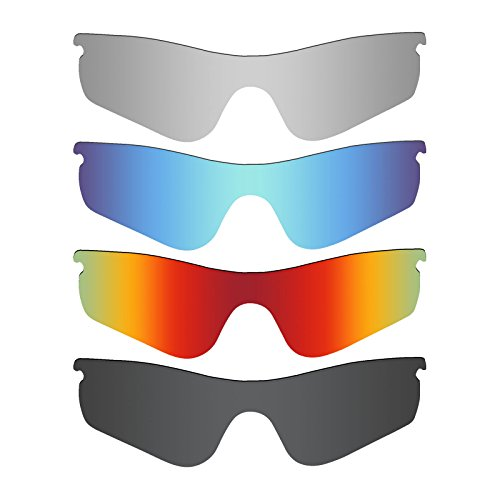 Mryok 4 Pair Polarized Replacement Lenses for Oakley RadarLock Path Sunglass - Stealth Black/Fire Red/Ice Blue/Silver - Radarlock Polarized