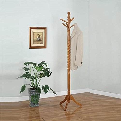 - 6 Hook Oak Twist Center Stand Hall Tree Solid Wood Coat Hat Rack New