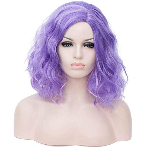- Alacos Fashion 35cm Short Curly Full Head Wig Heat Resistant Daily Dress Carnival Party Masquerade Anime Cosplay Wig +Wig Cap (Purple Highlight)