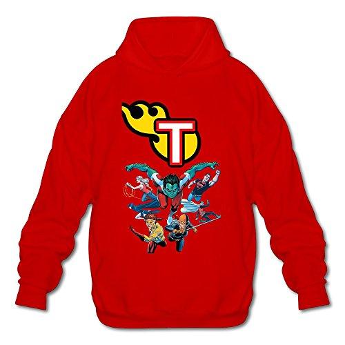 Cheap Batman And Robin Costumes (AOPO Teen Titans Group Comic Men's Long Sleeve Hooded Sweatshirt / Hoodie Medium Red)