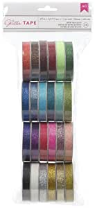 American Crafts Value Pack Glitter Ribbon, 1-Yard Spool, Set of 24