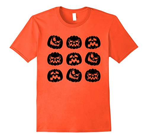 Mens Halloween Shirt With Scary Pumpkin Faces Black 2XL Orange