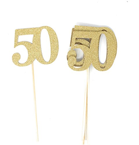 PaperGala Set of 8 Number 50 Centerpiece Sticks for Silver Anniversary Reunion 50th Birthday (Gold)]()