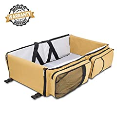 Travel Smart with this revolutionary travel bed!  This is the ultimate travel bassinet for baby, combining a comfortable sleep with the convenience of a change station and the storage space of a small diaper bag.  Mom and Dad will love a sing...
