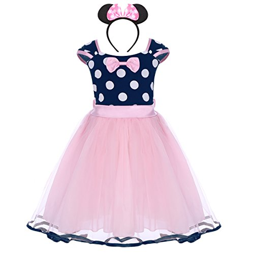 (Toddler Girl Princess Polka Dots Christmas Birthday Costume Bowknot Ballet Leotard Tutu Dress Up+3D Mouse Ear Headband)