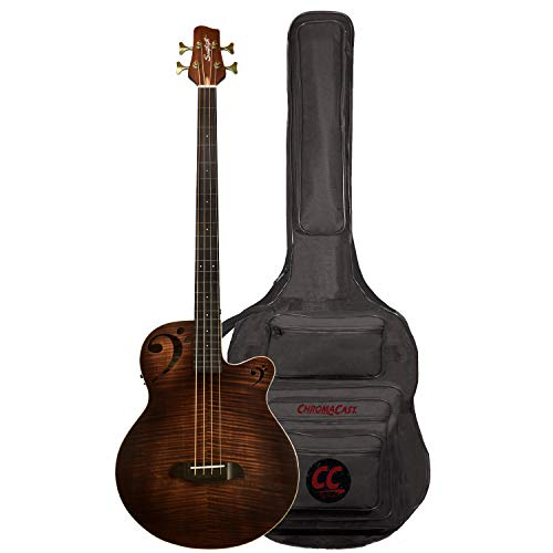Sawtooth Rudy Sarzo Signature Fretless Acoustic-Electric Bass Guitar, Includes Padded Gig Bag
