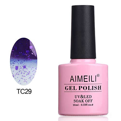 AIMEILI Soak Off UV LED Temperature Color Changing Chameleon Gel Nail Polish - Glitter Purple to Transparent (TC29) 10ml