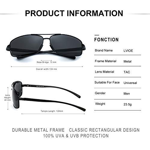 Polarizadas Sol De Metal UVB Gafas Gris Marco Rectangulares Negro UVA Protección 100 amp; Hombres De TwBZdqTp
