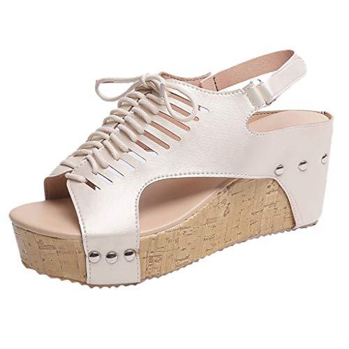 Orangeskycn Women Wedge Shoes Plus Size Open Toe Breathable Beach Sandals High Heel Roman Elastic Band Casual Shoes -