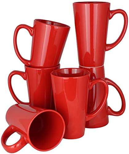 MinWill Brands Ceramic Tall Funnel Cup Coffee Mugs with Pan Scraper, 16 Ounce (Red, 6-Pack)