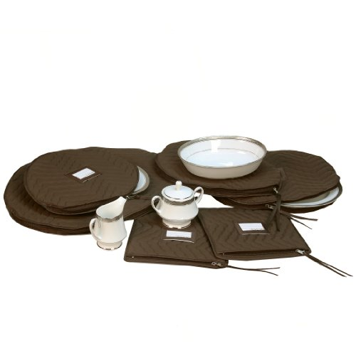 6 Pieces of Fine China Dinnerware Accessory Storage Set - Deluxe Quilted Plush Microfiber - Contents Label Window - Protect Your Valuable China Dishes from Dings, Scratches and Cracks - Brown China Accessory Set