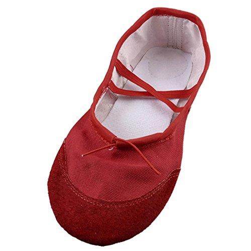 Sourcingmap US Size 6 Red Elastic Band Ballet Ballerina Dancing Flats Shoes for Ladies 75IIC
