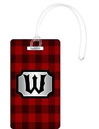 Rikki Knight W Initial Lumberjack Red Burgundy Plaid Luggage Tags, White
