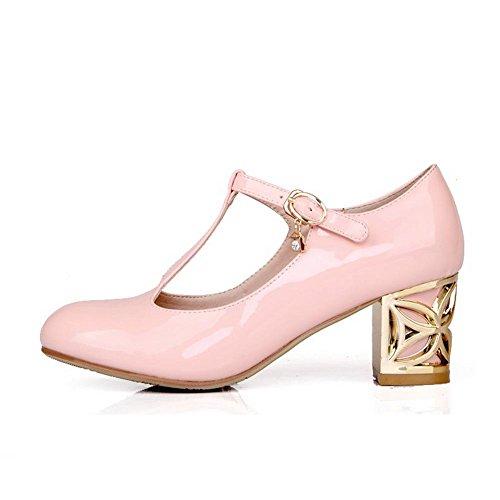 Amoonyfashion Dames Ronde Gesloten Neus Kitten-hakken Zacht Materiaal Stevige Gesp Pumps-schoenen Roze