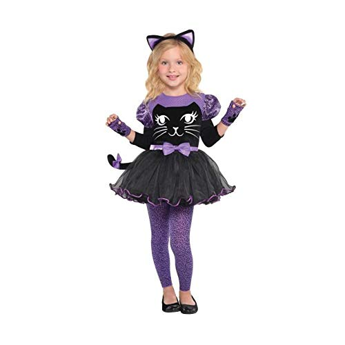 Miss Kitty Costumes (Amscan Girls Miss Meow Cat Costume - Toddler (3-4),)