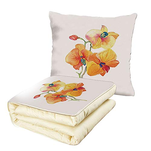 iPrint Quilt Dual-Use Pillow Floral Orchid Petals Wild Flower Exotic Fragrance Pure Florets Elegance Watercolor Multifunctional Air-Conditioning Quilt Red Yellow Marigold