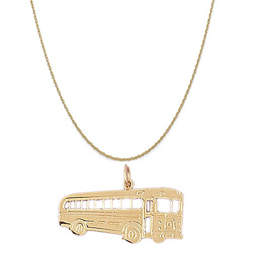 """14k Yellow Gold Bus Pendant on a 14K Yellow Gold Rope Chain Necklace, 18"""""""