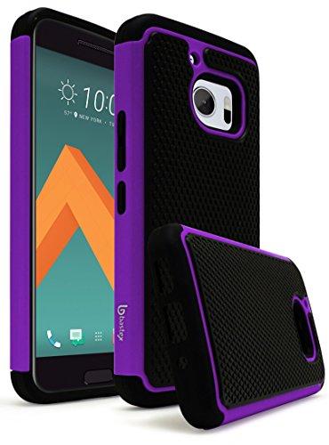 HTC 10 Case, Bastex Hybrid Slim Fit Rugged Black Rubber Silicone Cover Hard Plastic Purple & Black Shock Case for HTC 10 HTC M10 HTC One M10 (Virgin Mobile Htc Phone Case)