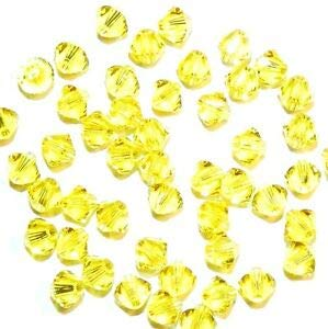 Steven_store SCB3115fb Citrine Yellow 4mm Xilion Faceted Bicone Swarovski Crystal Beads 48pc Making Beading Beaded Necklaces Yoga Bracelets