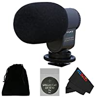 I3ePro BP-CMIC1 X-Series Mini Shotgun Condenser Microphone for Panasonic Lumix DMC-FZ1000 4K Point and Shoot Camera (Grey) from PIXI-GEAR