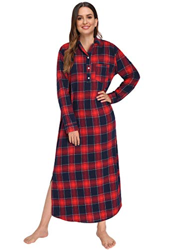 Latuza Women's Plaid Flannel Nightgowns Full Length Sleep Shirts S Red