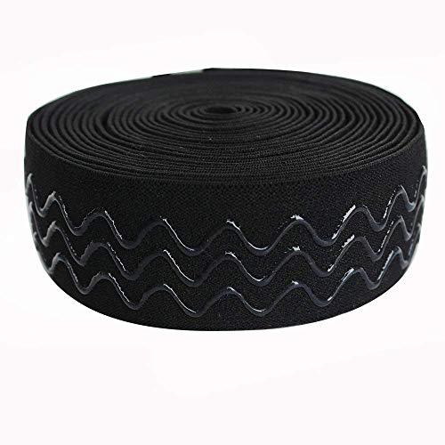 Wave Silicone (Zig Zag Wave Silicone Backed Gripper Elastic Webbing Elastic Band for Garment - 5 Yards per roll (38mm FBA))