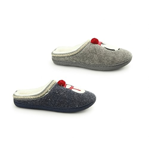 Fluffys North Pole Ladies Snowman Novelty Mule Slippers Navy UK 4 EH9sV
