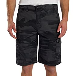 Unionbay Men's Medford Lightweight Cotton Cargo Short, Black Camo, 40