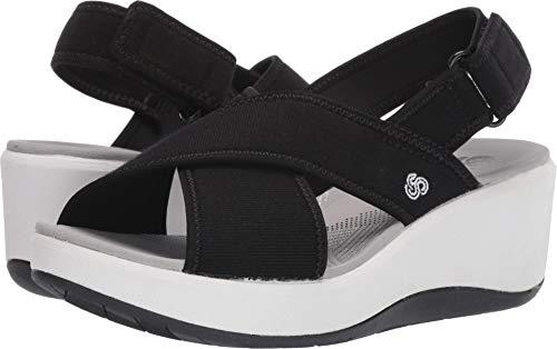 CLARKS Women's Step Cali Cove Sandal, Black Textile Knit, 100 W US (Real Steps)