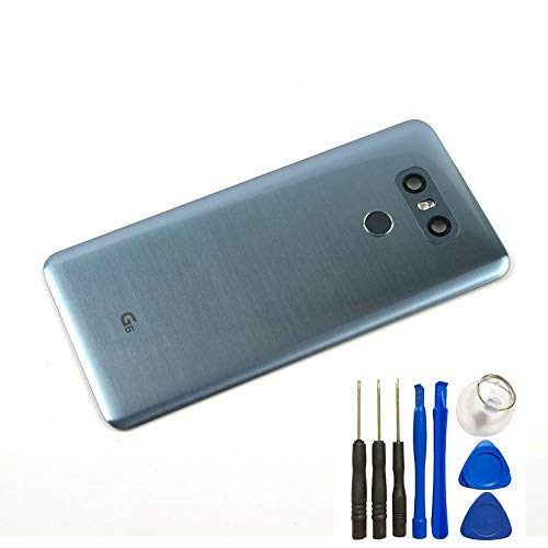 BSDTECH for G6 Glass Battery Back Cover,Waterproof Battery Door Cove+Camera Lens Cover/Full Assembly Replacement Parts with Fingerprint for LG G6 H871 H872 US997 VS998 LS993 (Ice Platinum)