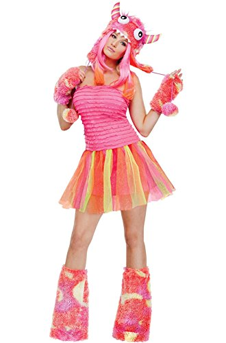 Fun World Wild Child Monster Adult Costume, Pink/Orange, Medium/Large