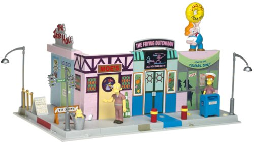The Simpsons Exclusive Playset Main Street with Crazy Old Man and Squeaky Voiced Teen - Exclusive Playmates Playset